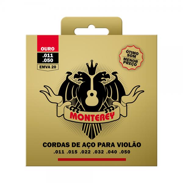 Encordoamento Monterey aço para violão calibre 0.011/0.050