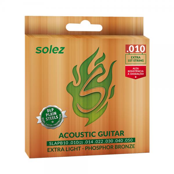 Encordoamento Solez para violão calibre 0.010″/0.050″.