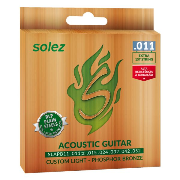 SLAPB11 - Solez Strings for Acoustic Guitar Phosphor Bronze 92/8 0.011 ""
