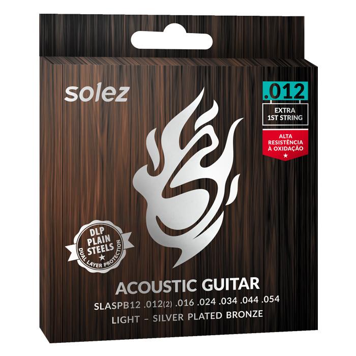 """SLASPB12 - Cuerdas de guitarra de acero bronce bronce plateado de 0.012 """"Solez"""